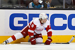 Nov 17, 2011; San Jose, CA, USA; Detroit Red Wings left wing Justin Abdelkader (8) warms up before the game against the San Jose Sharks at HP Pavilion. San Jose defeated Detroit 5-2. Mandatory Credit: Jason O. Watson-US PRESSWIRE