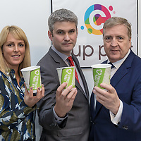 Mary Dilger Sales Manager CupPrint, CEO Terry Fox,  Minister of State for Trade, Employment, Business, EU Digital Single Market and Data Protection Pat Breen with Recyclable cups made at the facility