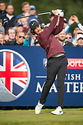 Tommy Fleetwood of England tees off during the British Masters 2018 at Walton Heath Golf Course, Walton On the Hill, Surrey  on 11 October 2018. Picture by Martin Cole.