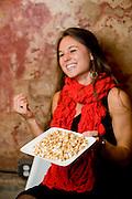 Kristi Steine trys the caramel corn at Fox Liquor Bar in Raleigh, NC.