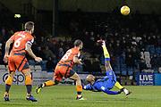 Gillingham midfielder Josh Parker (14) attempts an overhead scissor-kick during the EFL Sky Bet League 1 match between Gillingham and Wycombe Wanderers at the MEMS Priestfield Stadium, Gillingham, England on 15 December 2018.
