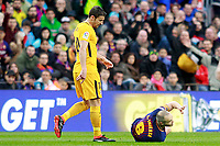 FC Barcelona's Andres Iniesta (r) injured in presence of Atletico de Madrid's Gabi Fernandez during La Liga match. March 4,2018. (ALTERPHOTOS/Acero)