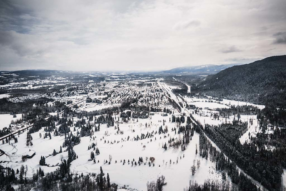 Aerial view of Smithers, British Columbia.