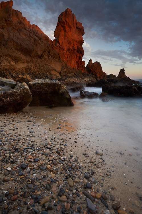 Rock formations at sunset in Corona Del Mar, CA.