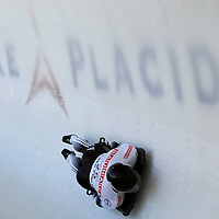 28 February 2007:  Iain Roberts of New Zealand in turn 18 the 3rd run at the Men's Skeleton World Championships competition on February 28 at the Olympic Sports Complex in Lake Placid, NY.