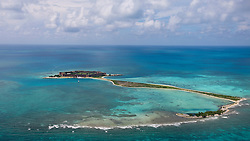 Aerial view of Long Key, Bush Key and Fort Jefferson on Garden Key, Dry Tortugas National Park, Florida, United States of America