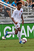 Canada midfielder Jahkeele Stanford (7) dribbles the ball in a game against Slovenia during a CONCACAF boys under-15 championship soccer game, Saturday, August 10, 2019, in Bradenton, Fla. Slovenia defeated Canada in 2-1 in overtime and advanced to the finals against Portugal. (Kim Hukari/Image of Sport)
