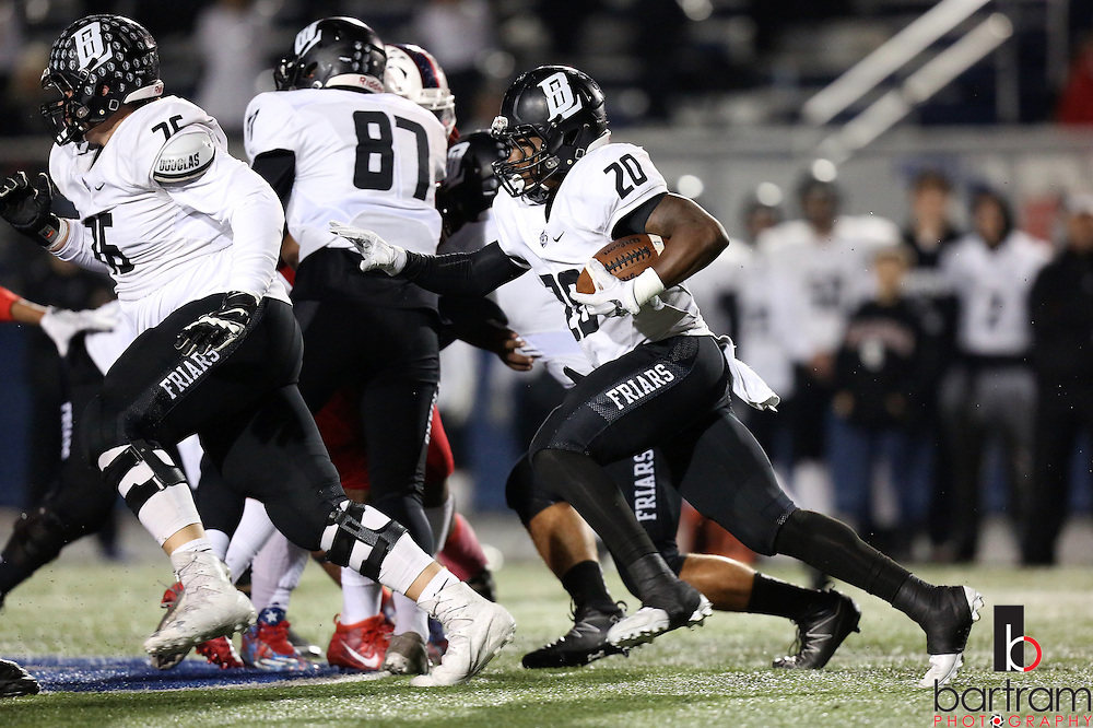 Bishop Lynch running back Jermaine Mask carries the ball during the TAPPS Division I state championship game on Saturday, Dec. 3, 2016 at Panther Stadium in Hewitt, Texas. Bishop Lynch High School won 21-17. (Photo by Kevin Bartram)