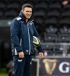 Attack Coach Stephen Jones during the pre match warm up<br /> <br /> Photographer Simon King/Replay Images<br /> <br /> Guinness PRO14 Round 11 - Ospreys v Scarlets - Saturday 22nd December 2018 - Liberty Stadium - Swansea<br /> <br /> World Copyright © Replay Images . All rights reserved. info@replayimages.co.uk - http://replayimages.co.uk