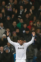 "09.01.2013 SPAIN -  Copa del Rey Matchday 1/16th  match played between Real Madrid CF vs Celta de Vigo (3-0) at Santiago Bernabeu stadium. With ""hat trick"" of Cristiano Ronaldo The picture show Cristiano Ronaldo (Portuguese forward of Real Madrid)"