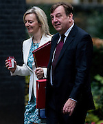 UNITED KINGDOM, London: 17 November 2015 Elizabeth Truss Secretary of State for Environment, Food and Rural Affairs and John Whittingdale Secretary of State for Culture, Media and Sport arrives to attend Cabinet Meeting at 10 Downing Street in London, England. Picture by Andrew Cowie / Story Picture Agency