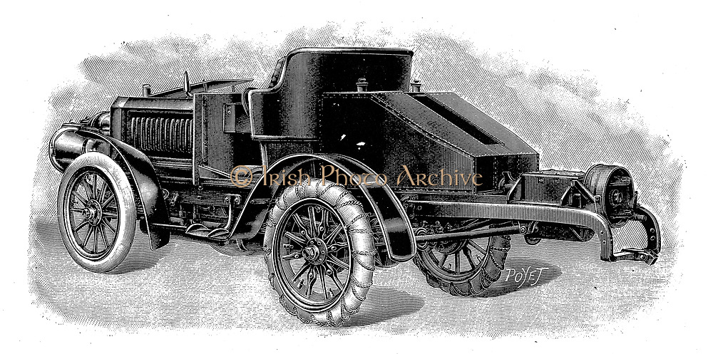 Renard's tractor unit, showing towing attachment for trailers 1904. Engraving.