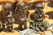 Africa, Ethiopia, Omo River Valley Hamer Tribe handicraft on display