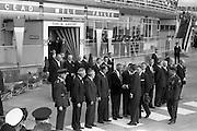 President John F. Kennedy arrives at Dublin Airport.  Kennedy replies to President de Valera's speech of welcome.  Onlookers include President Kennedy's sisters, Mrs. Eunice Shriver and Mrs. Jean Smith; An Taoiseach Seán Lemass; An Tanaiste Mr. McAntee; Dr. Ryan, Minister for Finance, and Mr. Frank Aiken, Minister for External Affairs.<br /> 26.06.1963