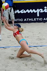 06-06-2010 VOLLEYBAL: JIBA GRAND SLAM BEACHVOLLEYBAL: AMSTERDAM<br /> In een koninklijke ambiance streden de nationale top, zowel de dames als de heren, om de eerste Grand Slam titel van het seizoen bij de Jiba Eredivisie Beach Volleyball - Marleen van Iersel<br /> ©2010-WWW.FOTOHOOGENDOORN.NL