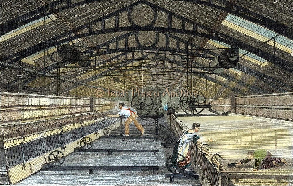 Cotton manufacture: mule spinning. Note boy on right employed to crawl under threads & sweep up. Self-acting mule of type devised by Richard Roberts 1825.  Roof of building supported by iron trusses. Engraving c1830.