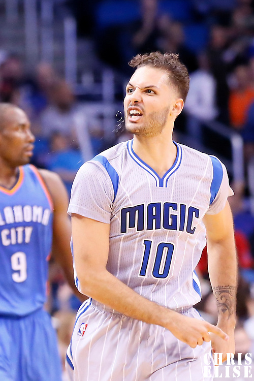 30 October 2015: Orlando Magic guard Evan Fournier (10) reacts during the Oklahoma City Thunder 139-136 double overtime victory over the Orlando Magic, at the Amway Center, in Orlando, Florida, USA.