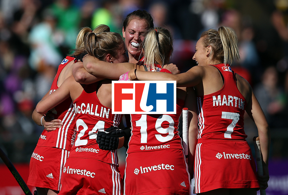 JOHANNESBURG, SOUTH AFRICA - JULY 16:  Giselle Ansley of England celebrates the second goal with team mates during day 5 of the FIH Hockey World League Women's Semi Finals Pool A match between England and Ireland at Wits University on July 16, 2017 in Johannesburg, South Africa.  (Photo by Jan Kruger/Getty Images for FIH)