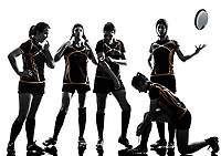 rugby women players team in silhouette isolated on white backround