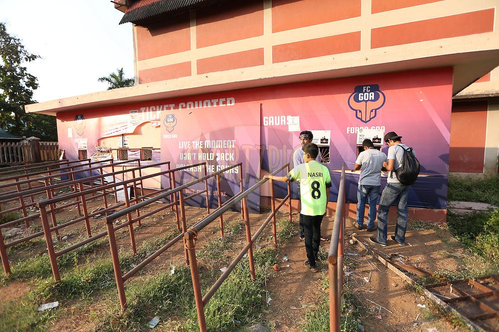 Box office during match 39 of the Indian Super League (ISL) season 2  between FC Goa and Mumbai City FC held at the Jawaharlal Nehru Stadium, Fatorda, Goa, India on the 17th November 2015.<br /> <br /> Photo by Sandeep Shetty / ISL/ SPORTZPICS