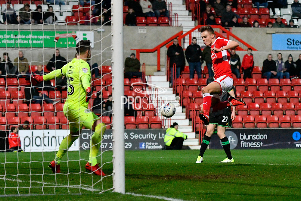 Scott Twine (27) of Swindon Town shoots at goal and misses the target during the EFL Sky Bet League 2 match between Swindon Town and Yeovil Town at the County Ground, Swindon, England on 10 April 2018. Picture by Graham Hunt.