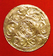Reproduction of a gold disk with an embossed butterfly. Mycenaean Late Helladic ca. 1600-1500 B.C. made by Emile Gilliéron, père. Tempera on Paper