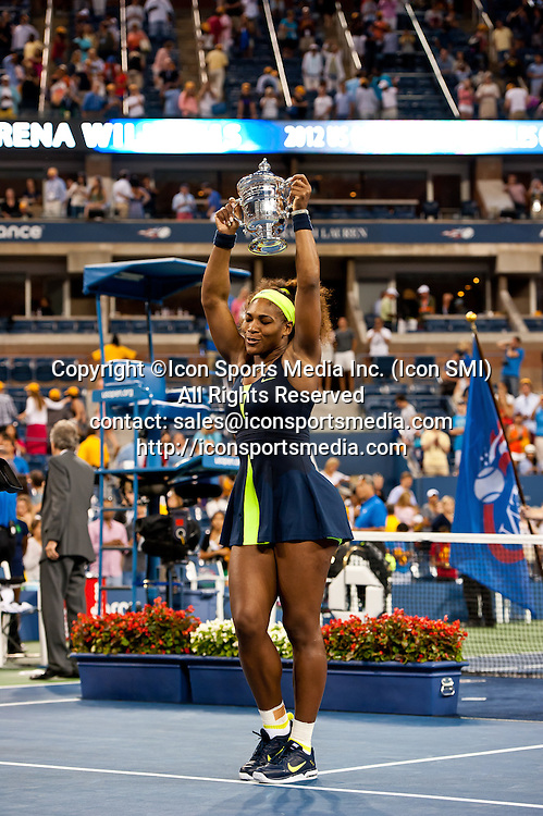 September 9, 2012: Serena Williams of the United States (USA) defeated Victoria Azarenka from Belarus (BLR) to win the Women's Singles Championship on Day 14 of the 2012 U.S. Open Tennis Championships at the USTA Billie Jean King National Tennis Center in Flushing, Queens, New York, USA. ***** SWITZERLAND OUT *****