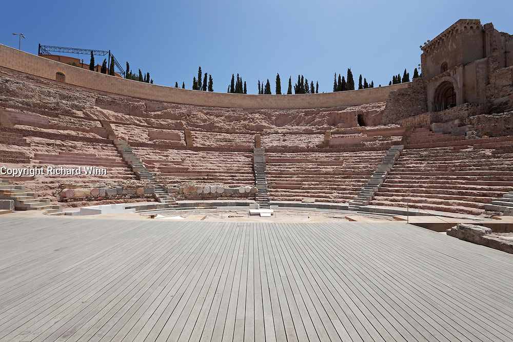 Wide-angle front view of the Roman Amphitheatre at Cartagena (Carthago Nova).