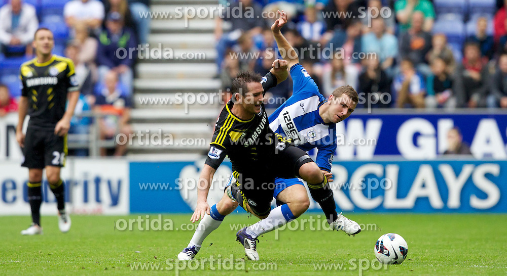 19.08.2012, DW Stadion, Wigan, ENG, Premier League, Wigan Athletic vs FC Chelsea, 1. Runde, im Bild Chelsea's Frank Lampard in action against Wigan Athletic's James McArthur during during the English Premier League 1th round match between West Wigan Athletic and Chelsea FC at the DW Stadium, Wigan, Great Britain on 2012/08/19. EXPA Pictures © 2012, PhotoCredit: EXPA/ Propagandaphoto/ Vegard Grott..***** ATTENTION - OUT OF ENG, GBR, UK *****