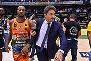 Justin Carter, Gianmarco Pozzecco<br /> Happy Casa Brindisi - Banco di Sardegna Dinamo Sassari<br /> Semifinale<br /> LBA Serie A Final 8 Eight Postemobile 2018-2019<br /> Firenze, 16/02/2019<br /> Foto L.Canu / Ciamillo-Castoria