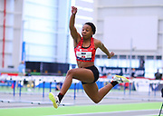 Keturah Orji competes in the triple jump  during the USA Indoor Track and Field Championships in Staten Island, NY, Sunday, Feb 24, 2019. (Rich Graessle/Image of Sport)