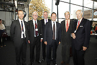 Geoff Taylor (BPI Chief Executive), Sir Cyril Taylor CBE, John Deacon CBE, Ed Vaizey MP, Lord Baker of Dorking and Sir George Martin CBE (l-r). The BRIT School Industry Day, Croydon, London..Thursday, Sept.22, 2011 (John Marshall JME)