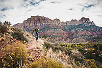 Jeremy Hottinger takes a hot lap on the Springdale Town Trail, Zion, Utah.
