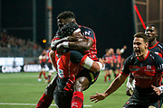 Quentin MacDonald of Oyonnax and Dug Codjo of Oyonnax during the French Championship Top 14 Rugby Union match between US Oyonnax Rugby and Lyon OU on April 28, 2018 at Charles Mathon stadium in Oyonnax, France - Photo Romain Biard / Isports / ProSportsImages / DPPI