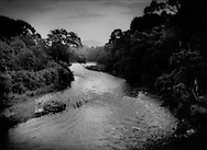 The Rio Cahuacan comes out of lushly forested hills near Tapachula, Chiapas, Mexico.
