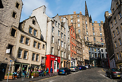 View along historic Victoria Street at Grassmarket in Edinburgh Old Town , Scotland, United Kingdom.