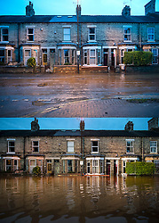 **Comparison picture showing water levels at 5pm yesterday evening and at 8am this morning (Tues)**© Licensed to London News Pictures. 29/12/2015. York, UK. Previously flooded property on Huntington Road in York town centre on December 29, 2015. Water levels in the area surrounding the Foss river have now dropped off.. Photo credit: Ben Cawthra/LNP