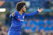 Chelsea midfielder Willian (22) shows his frustration during the Europa League  quarter-final, leg 2 of 2 match between Chelsea and Slavia Prague at Stamford Bridge, London, England on 18 April 2019.