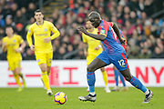 Crystal Palace defender Mamadou Sakho (12) runs forward with the ball during the Premier League match between Crystal Palace and Chelsea at Selhurst Park, London, England on 30 December 2018.