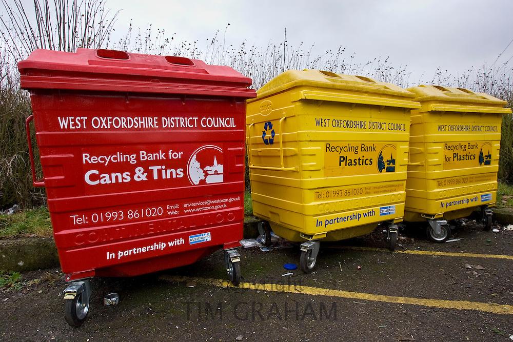 Recycle bins, Burford, Oxfordshire, United Kingdom