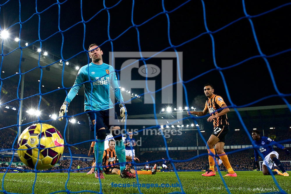 Hull City goalkeeper Allan McGregor (left) looks on as Romelu Lukaku of Everton (right) scores their first goal to make it Everton 1 Hull City 0 during the Barclays Premier League match at Goodison Park, Liverpool<br /> Picture by Ian Wadkins/Focus Images Ltd +44 7877 568959<br /> 03/12/2014