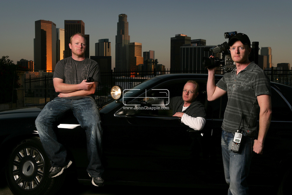 10th April 2008, Los Angeles, California. Three daredevil brothers from Dorset are set to become America's biggest reality TV stars. Howard, Austin and Marc Raishbrook, who risk their lives filming police car chases and shootouts, have been offered a mega bucks deal to star in their own series. Pictured left to Right is, Marc, Austin and Howard Raishbrook. PHOTO © JOHN CHAPPLE / REBEL IMAGES.john@chapple.biz    www.chapple.biz