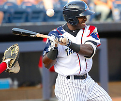 July 5, 2017 - Trenton, New Jersey, U.S - TITO POLO of the Trenton Thunder reacts when he is hit by a pitch in the first inning of the game vs. the Fightin Phils at ARM & HAMMER Park. He stayed in the game. (Credit Image: © Staton Rabin via ZUMA Wire)