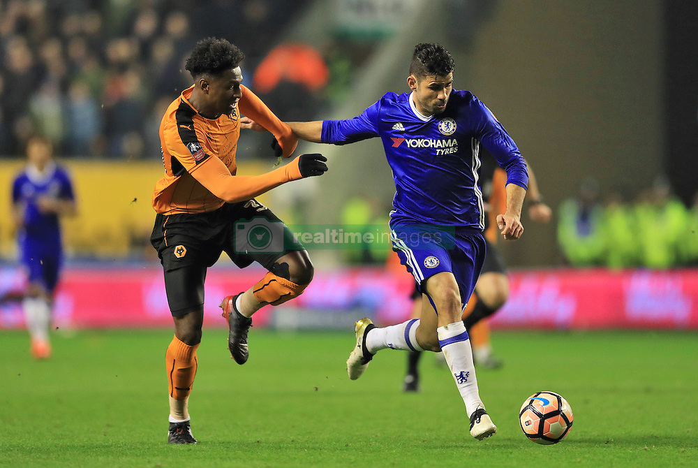 Wolverhampton Wanderers' Kortney Hause (left) and Chelsea's Diego Costa in action