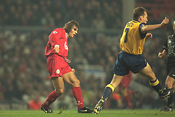 Liverpool, England - Wednesday, November 27th, 1996: Liverpool's Patrik Berger and Arsenal's David Platt during the 4th Round of the League Cup at Anfield. (Pic by David Rawcliffe/Propaganda)