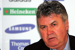 Guus Hiddink, manager of Chelsea, looks on during a press Conference ahead of tomorrow's match against Aston Villa, at Stamford Bridge on February 20, 2009 in London, England.