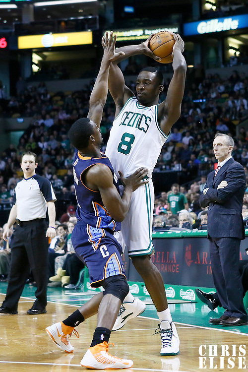 14 January 2013: Charlotte Bobcats shooting guard Ben Gordon (8) defends on Boston Celtics power forward Jeff Green (8) during the Boston Celtics 100-89 victory over the Charlotte Bobcats at the TD Garden, Boston, Massachusetts, USA.