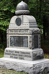 July 2007:33rd Ohio Infantry. Monuments of Valor at the Chickamauga National Park in Georgia. There are hundreds of memorials and markers throughout the park.  They tell the story of the battle, show positioning, and honor those who were engaged in the battle. Attractions near Chattanooga Tennessee. Point Park, National Park Service - Lookout Mountain, TN.