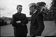 Christian Brothers .1972..11.08.1972..08.11.1972..11th August 1972..At St Marys,Christian Brothers College,Bray, the Christian Brothers prepare for their final profession before they move to the different provincial houses throughout the country...Bros Gabriel Gibson,Glashill,Offaly and John Ceasar,Kilkenny, pictured in the grounds of The Christian Brothers' College,Bray,Wicklow.