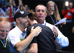 Andy Murray with Ivan Lendl (right) during day eight of the Barclays ATP World Tour Finals at The O2, London.